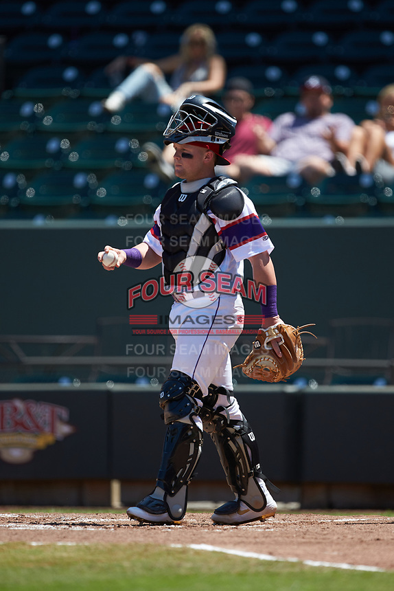 Winston-Salem Rayados catcher Evan Skoug (19) on defense against the Lynchburg Hillcats at BB&T Ballpark on June 23, 2019 in Winston-Salem, North Carolina. The Hillcats defeated the Rayados 12-9 in 11 innings. (Brian Westerholt/Four Seam Images)