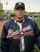 July 17, 2004:  Pitcher Kevin Barry of the Richmond Braves, Triple-A International League affiliate of the Atlanta Braves, during a game at Frontier Field in Rochester, NY.  Photo by:  Mike Janes/Four Seam Images