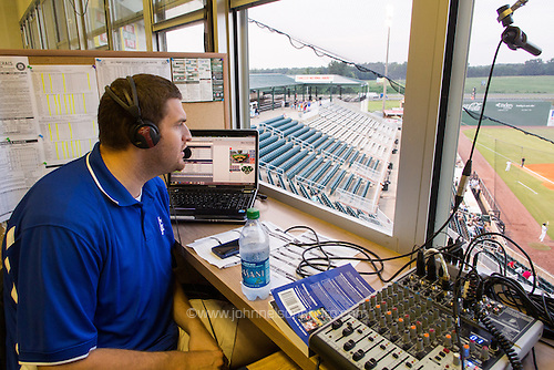 """Jackson Generals"""" game broadcaster Chris Harris calls a game from Generals Park in Jackson, Tennessee."""