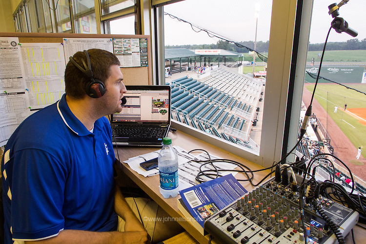 "Jackson Generals"" game broadcaster Chris Harris calls a game from Generals Park in Jackson, Tennessee."