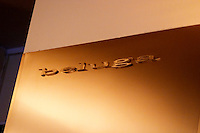 The interior of the trendy restaurant beluga with its name in shiny metal on the wall on Ostermalm Stockholm, Sweden, Sverige, Europe