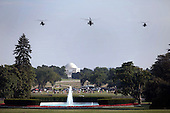 Washington, Dc - August 17, 2009 -- Marine One and two escort helicopters approach the landing area on the South Lawn of the White House in Washington, D.C., August 17, 2009..Mandatory Credit: Lawrence Jackson - White House via CNP