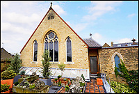 BNPS.co.uk (01202 558833)<br /> Pic: KnightFrank/BNPS<br /> <br /> Humble exterior gives no clue to the spacious interior.<br /> <br /> Stunning transformation of a former chapel near Hampton Court in London.<br /> <br /> A former derelict chapel has been transformed into a heavenly home - and is now on the market with a guide price of &pound;1.8m.<br /> <br /> When Keith Holmes, 73, bought the property in 1997 it was a complete wreck with missing tiles, woodworm and smashed stained glass windows. <br /> <br /> He had to completely gut the building before he could turn it into a stunning house and his labour of love took 16 years and about &pound;800,000.<br /> <br /> Mr Holmes, an art restorer and painter, only finished his epic renovation about four years ago but has decided to sell so he can start a new project.<br /> <br /> This property is now on the market with Knight Frank.