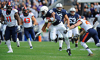 31 October 2015:  Penn State RB Saquon Barkley (26) runs through a tackle. The Penn State Nittany Lions defeated the Illinois Fighting Illini 39-0 at Beaver Stadium in State College, PA. (Photo by Randy Litzinger/Icon Sportswire)