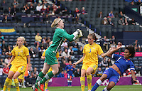 Women's Olympic Football match France v Sweden on 3.8.12...Hedvig Lindahl of Sweden punches clear during the Women's Olympic Football match between France v Sweden at Hampden Park, Glasgow...............