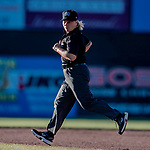 19 June 2018: MiLB Umpire Jen Pawol works the bases during a game between the Vermont Lake Monsters and the Connecticut Tigers at Centennial Field in Burlington, Vermont. The Lake Monsters defeated the Tigers 5-4 in the conclusion of a rain-postponed Lake Monsters Opening Day game started June 18. Mandatory Credit: Ed Wolfstein Photo *** RAW (NEF) Image File Available ***