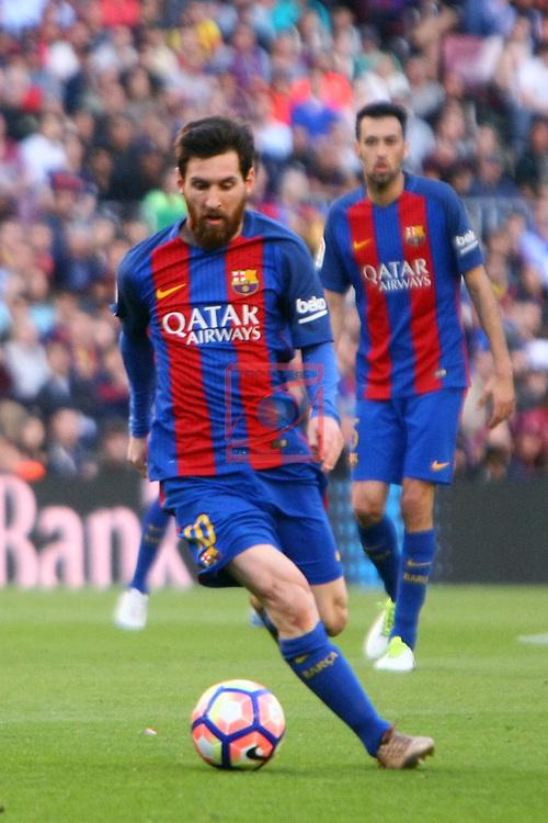 League Santander 2016/2017. Game: 36.<br /> FC Barcelona vs Villarreal CF: 4-1.<br /> Lionel Messi.