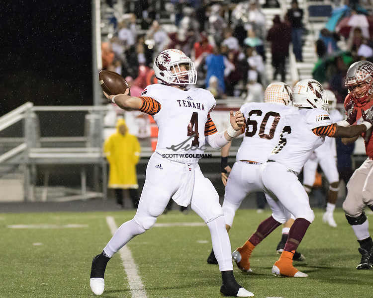 Tenaha Tigers junior quarterback CJ Horn (4) passes the ball during a high school football playoff game between Bremond High School and Tenaha High School at Cougar Stadium in College Station, Texas, on December 2, 2016.
