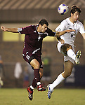 05 October 2007: Boston College's Idan Shefler (4) heads the ball away from Duke's Paul Dudley (6). Boston College defeated Duke University at Koskinen Stadium in Durham, North Carolina in an NCAA Men's soccer game.