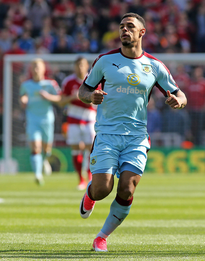 Burnley's Andre Gray in action<br /> <br /> Photographer David Shipman/CameraSport<br /> <br /> The Premier League - Middlesbrough v Burnley - Saturday 8th April 2017 - Riverside Stadium - Middlesbrough<br /> <br /> World Copyright &copy; 2017 CameraSport. All rights reserved. 43 Linden Ave. Countesthorpe. Leicester. England. LE8 5PG - Tel: +44 (0) 116 277 4147 - admin@camerasport.com - www.camerasport.com