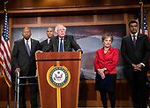 United States Senator Bernie Sanders (Independent of Vermont) makes remarks at a press conference in the US Capitol in Washington, DC announcing a Democratic package of three bills to be introduced in the US Senate and US House to control prescription drug prices on Thursday, January 10, 2019.  Standing behind Senator Sanders, from left to right: US Representative Elijah Cummings (Democrat of Maryland), US Senator Cory Booker (Democrat of New Jersey), US Representative Jan Schakowsky (Democrat of Illinois), and US Representative Ro Khanna (Democrat of California).<br /> Credit: Ron Sachs / CNP