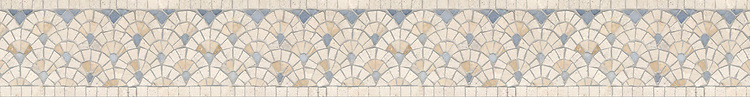 "5 1/4"" Sassafras border, a hand-cut mosaic shown in polished Ivory Cream, Travertine White, and Celeste by New Ravenna."