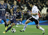 Valencia CF's Ricardo Costa (r) and Paris Saint-Germain's Lucas during Champions League 2012/2013 match.February 12,2013. (ALTERPHOTOS/Acero) /NortePhoto