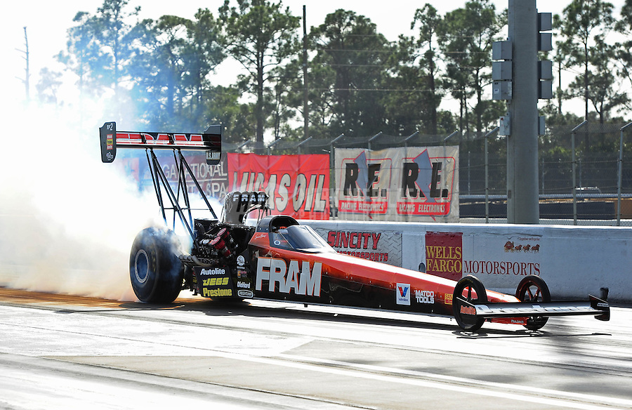 Jan. 17, 2012; Jupiter, FL, USA: NHRA top fuel dragster driver Spencer Massey during testing at the PRO Winter Warmup at Palm Beach International Raceway. Mandatory Credit: Mark J. Rebilas-