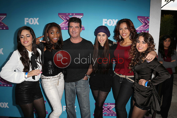 """Simon Cowell, Fifth Harmony<br /> at the """"The X Factor"""" Season Finale News Conference, CBS Televison City, Los Angeles, CA 12-17-12<br /> David Edwards/DailyCeleb.com 818-249-4998"""