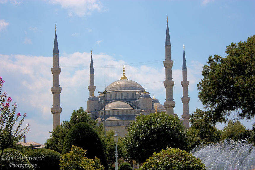 A view of the beautiful Blue Mosque in Istanbul, Turkey