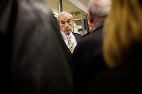 Presidential candidate Ron Paul speaks to supporters at Sandy's Variety store in Manchester, New Hampshire, USA.  Paul is seeking the Republican nomination for president.