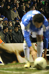 Birmingham City 0 Liverpool 7, 21/03/2006. St Andrews, FA Cup 6th Round. Birmingham City (blue) versus Liverpool,  The home side lost 0-7. Picture shows City fans not particularly interested as City's Jermain Pennant lines up a corner kick. Photo by Colin McPherson.