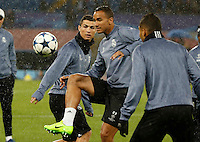 Cristiano Ronaldo and Danilo  during training session  at eve  the Champions League Group  soccer match between SSC Napoli and Real Madrid   at the San Paolo  Stadium inNaples March 06, 2017
