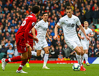 Burnley's Chris Wood takes on Liverpool's Trent Alexander-Arnold<br /> <br /> Photographer Alex Dodd/CameraSport<br /> <br /> The Premier League - Liverpool v Burnley - Sunday 10th March 2019 - Anfield - Liverpool<br /> <br /> World Copyright © 2019 CameraSport. All rights reserved. 43 Linden Ave. Countesthorpe. Leicester. England. LE8 5PG - Tel: +44 (0) 116 277 4147 - admin@camerasport.com - www.camerasport.com