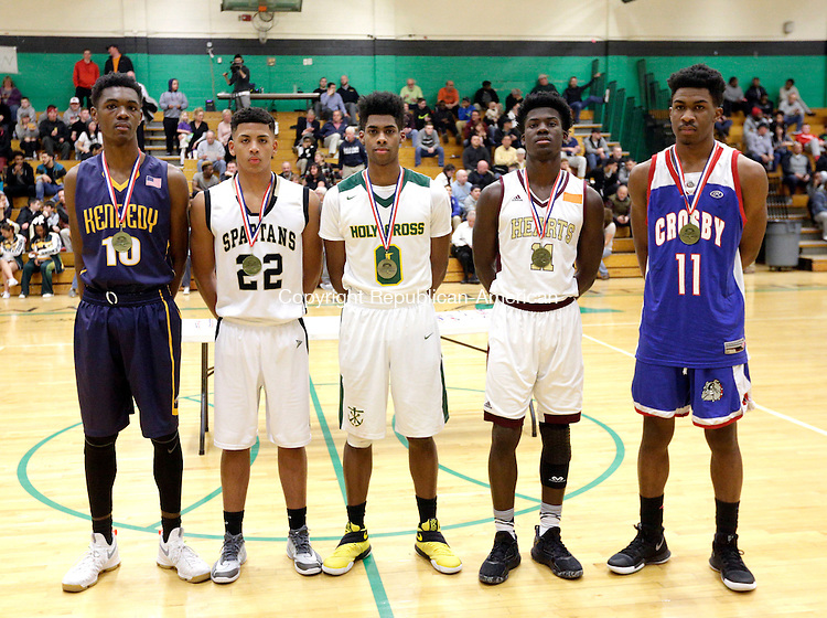 Waterbury, CT- 27 February 2017-022717CM17- All City boys basketball from left, Lashawn Smith, Kennedy;  Marquan Watson, WCA;  Nyzair Rountree, Holy Cross; <br /> Raheem Solomon, Sacred Heart and Jeremiah Kendall, Crosby.     Christopher Massa Republican-American