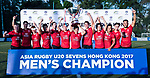 Team Hong Kong pose for photo with trophy after winning the Asia Rugby U20 Sevens 2017 men's championship at King's Park Sports Ground on August 5, 2017 in Hong Kong, China. Photo by Yu Chun Christopher Wong / Power Sport Images