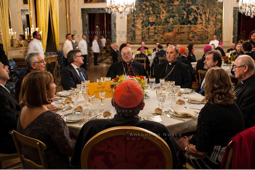 Vatican City, November 19, 2016. Alcuni invitati  all'ambasciata di Spagna presso la Santa Sede per partecipare alla cena organizzata per celebrare l'elezione di un nuovo cardinale.