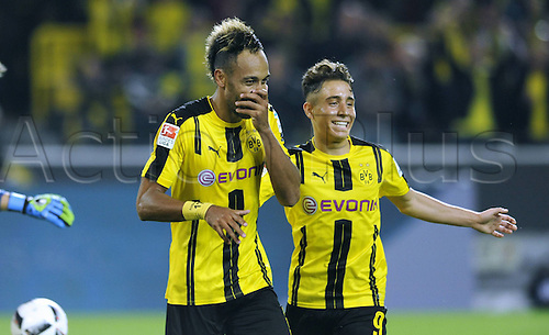 23.09.2016. Dortmund, Germany. German Bundesliga Football. Borussia Dortmund versus SC Freibrug.  Pierre-Emerick Aubameyang celebrates as he scores his goal for 1-0