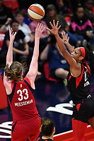 Washington, DC - Sept 17, 2019: Washington Mystics center Emma Meesseman (33) hits a fade away jump shot over Las Vegas Aces center A'ja Wilson (22) during WNBA Playoff semi final game between Las Vegas Aces and Washington Mystics at the Entertainment & Sports Arena in Washington, DC. The Mystics hold on to beat the Aces 97-95. (Photo by Phil Peters/Media Images International)