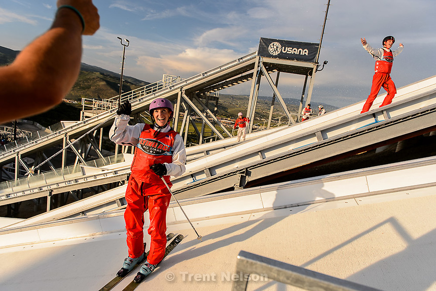 Trent Nelson  |  The Salt Lake Tribune<br /> Olympic freestyle skier Shannon Bahrke gets psyched up before performing at the grand opening of the expanded Spence Eccles Olympic Freestyle Pool at Utah Olympic Park, Saturday June 27, 2015. The Eccles family donated $1 million to kick off a $3 million fundraising campaign to expand the pool and replace four old wooden jumps with seven metal jumps that have different lift-off angles suited to the various Winter Olympic sports disciplines.