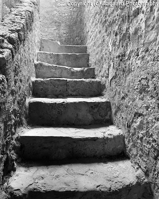Staircase, Mission Concepcion, San Antonio.<br /> <br /> Mamiya RB67 Pro SD, 50mm lens, Kodak TMAX 400 film
