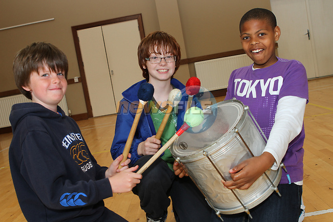 Phillip Fee, Matthew O'Loughlin and Angelo Ingram at the Cross Community Event for school children in St.Peters Church of Ireland Hall....Photo NEWSFILE/Jenny Matthews.