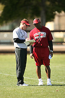 9 April 2007: Scott Shafer and Clayton White during spring practice in Stanford, CA.