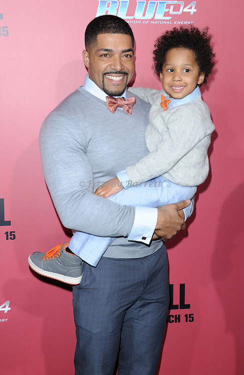 """David Otunga and and his son David Jr. at the premiere for """"The Call"""" held at Archlight  Theater in Los Angeles, CA. March 5, 2013."""