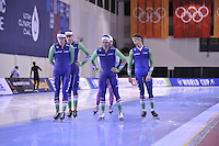 SPEED SKATING: SALT LAKE CITY: 19-11-2015, Utah Olympic Oval, ISU World Cup, training, Ronald Mulder (NED), Thomas Krol (NED), Kai Verbij (NED), Stefan Groothuis (NED),  ©foto Martin de Jong