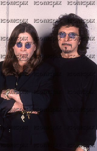 Black Sabbath - reunion of the original members in an  exclusive photosession - vocalist Ozzy Osbsourne and guitarist Tony Iommi  - photographed at the NEC Arena in Birmingham UK - 04 Dec 1997.  Photo credit: George Chin/IconicPix