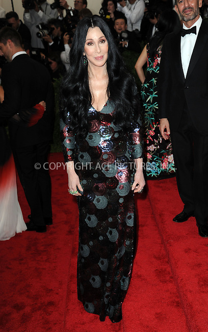 WWW.ACEPIXS.COM<br /> <br /> May 4, 2015...New York City<br /> <br /> Cher attending the Costume Institute Benefit Gala celebrating the opening of China: Through the Looking Glass at The Metropolitan Museum of Art on May 4, 2015 in New York City.<br /> <br /> By Line: Kristin Callahan/ACE Pictures<br /> <br /> <br /> ACE Pictures, Inc.<br /> tel: 646 769 0430<br /> Email: info@acepixs.com<br /> www.acepixs.com
