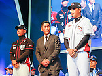 Cho Beom-Hyeon, Park Kyung-su and Cho Mu-geun, Mar 28, 2016 : South Korean baseball team KT Wiz manager Cho Beom-Hyeon (C), infielder Park Kyung-su (L) and pitcher Cho Mu-geun pose during a media day and fanfest of 10 clubs in the Korea Baseball Organization (KBO) in Seoul, South Korea. (Photo by Lee Jae-Won/AFLO) (SOUTH KOREA)