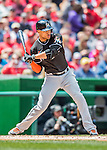 15 May 2016: Miami Marlins outfielder Giancarlo Stanton in action against the Washington Nationals at Nationals Park in Washington, DC. The Marlins defeated the Nationals 5-1 in the final game of their 4-game series.  Mandatory Credit: Ed Wolfstein Photo *** RAW (NEF) Image File Available ***