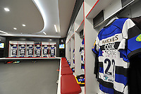 A general view of Chris Cook's matchday jersey hung up in the changing rooms. Aviva Premiership Final, between Bath Rugby and Saracens on May 30, 2015 at Twickenham Stadium in London, England. Photo by: Patrick Khachfe / Onside Images