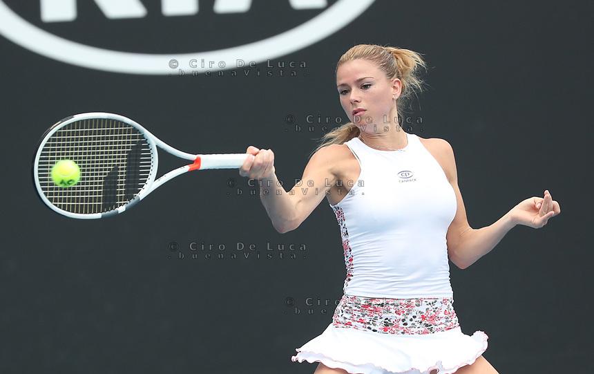 17th January 2019, Melbourne Park, Melbourne, Australia; Australian Open Tennis, day 4; Camilla Giorgi of Italy returns the ball during the match agains ILA Swiatek of Poland