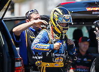 Jul 30, 2016; Sonoma, CA, USA; Crew member with NHRA top fuel driver Leah Pritchett during qualifying for the Sonoma Nationals at Sonoma Raceway. Mandatory Credit: Mark J. Rebilas-USA TODAY Sports