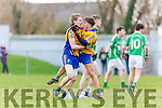 Beaufort goalscorers Ronan Ferris and Darragh Coffey celebrate Ferris's goal against Milltown Castlemaine during the Mid Kerry final in Killorglin on Sunday