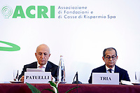 Antonio Patuelli Presidente of Italian Bank Association, Giovanni Tria Minister of Economy<br /> Roma 31/10/2018. ACRI. Giornata Mondiale del Risparmio 2018.<br /> Rome October 31st 2018. ACRI. World Saving Day 2018.<br /> Foto Samantha Zucchi Insidefoto