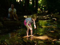 Evie East , 4, searches Friday, June 19, 2020, for an interesting rock as her mother, Bright East of Fayetteville (left), and her brother, Louis East, 1, (not pictured) play in Scull Creek in Wilson Park in Fayetteville. The three were enjoying the shade on a warm morning while exploring the creek. Visit nwaonline.com/200620Daily/ for today's photo gallery.<br /> (NWA Democrat-Gazette/Andy Shupe)