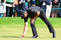 Dean Burmester places his ball to putt on the 1st green  during the BMW PGA Golf Championship at Wentworth Golf Course, Wentworth Drive, Virginia Water, England on 28 May 2017. Photo by Steve McCarthy/PRiME Media Images.
