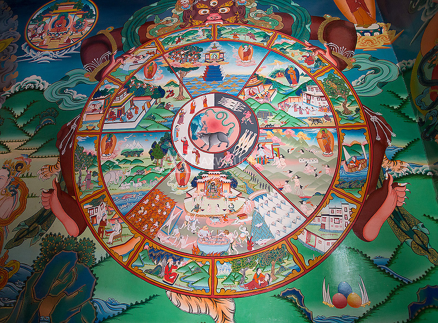 Artwork inside the Hemis Monastery in Ladakh.
