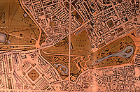"""London: Detail--Westminster & Parks, 1827. """"The yellow roads in the park were private.""""  Reference only."""