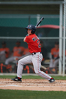Boston Red Sox Grant Williams (2) bats during a Minor League Spring Training game against the Baltimore Orioles on March 20, 2019 at the Buck O'Neil Baseball Complex in Sarasota, Florida.  (Mike Janes/Four Seam Images)
