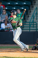 Jeremy Sy (25) of the Augusta GreenJackets takes his lead off of first base against the Hickory Crawdads at L.P. Frans Stadium on May 11, 2014 in Hickory, North Carolina.  The GreenJackets defeated the Crawdads 9-4.  (Brian Westerholt/Four Seam Images)